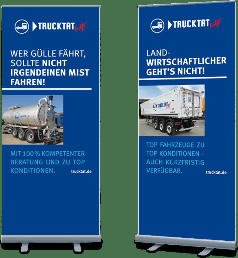 Rückemänner Werbeagentur Hamburg Messe-Rollups Trucktat