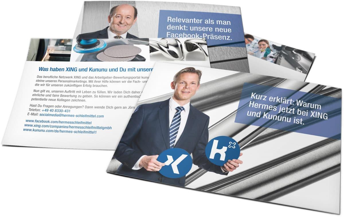 Rückemänner Werbeagentur Hamburg Hermes Schleifmittel Employer Branding Postkarten