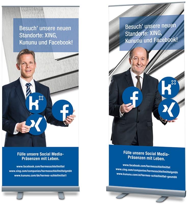 Rückemänner Werbeagentur Hamburg Hermes Schleifmittel Employer Branding Roll-ups