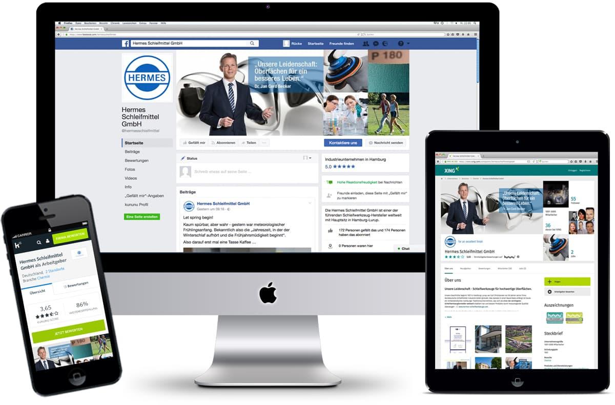 Rückemänner Werbeagentur Hamburg Hermes Schleifmittel B2B Social Media Profile