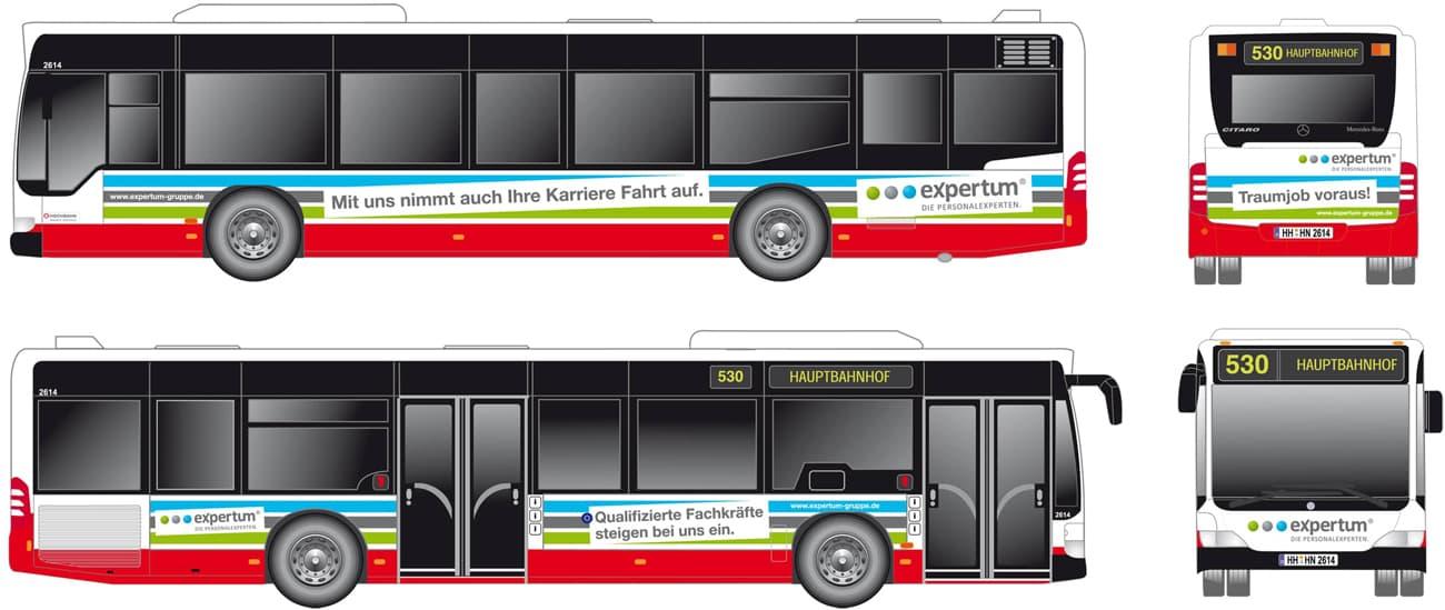 Rückemänner Werbeagentur Personalmarketing Employer Branding expertum Bus-Werbung