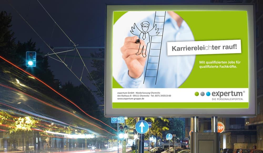 Rueckemaenner Werbeagentur Personalmarketing Employer Branding OOH Großflächen-Plakat expertum
