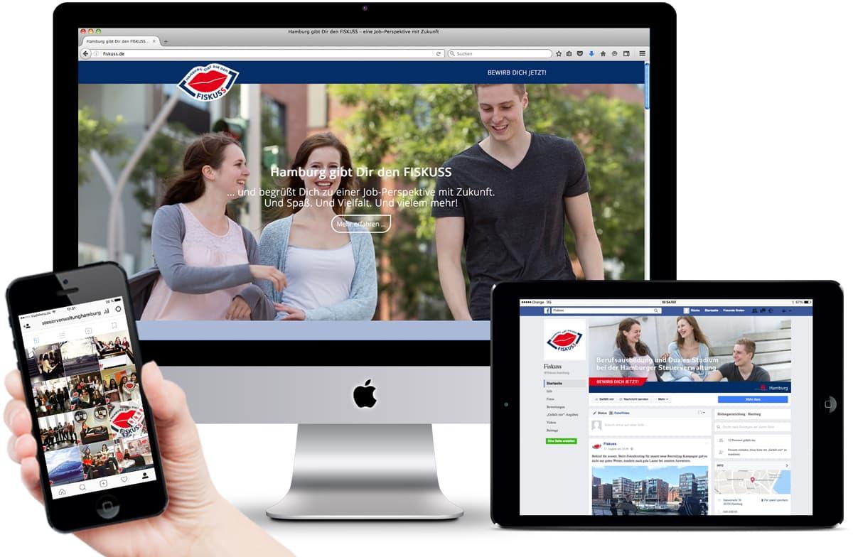 Rückemänner Werbeagentur Personalmarketing Employer Branding Landingpage Social Media Steuerverwaltung