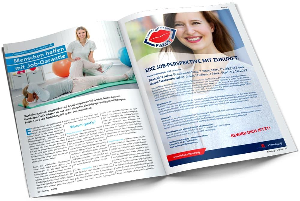 Rückemänner Werbeagentur Personalmarketing Employer Branding Printanzeige Magazin Einstieg Steuerverwaltung
