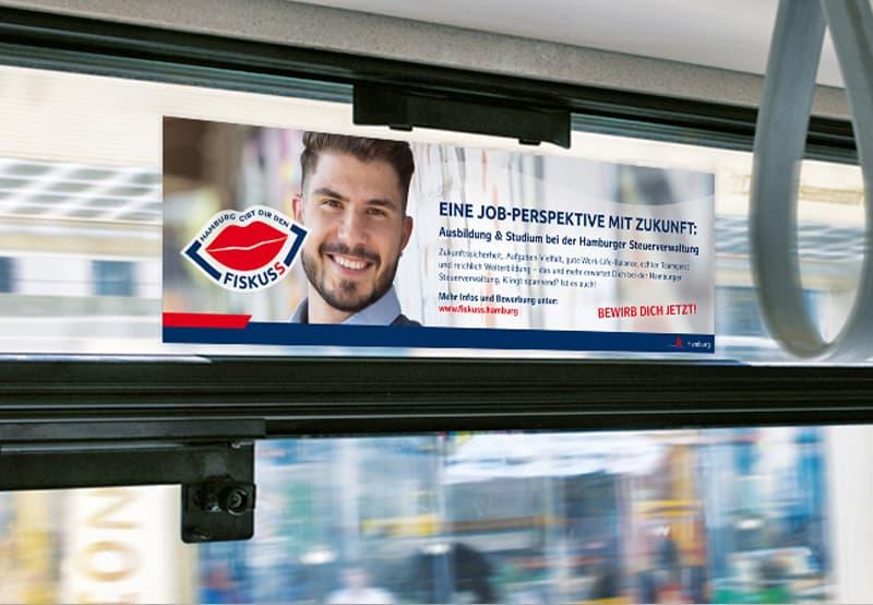 Rückemänner Werbeagentur Personalmarketing Employer Branding ÖPNV Seitenscheibenkleber OOH Steuerverwaltung