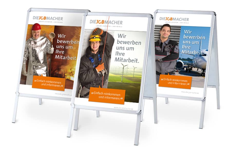 Rückemänner Werbeagentur Personalmarketing Employer Branding Jobmacher Aufsteller Plakate