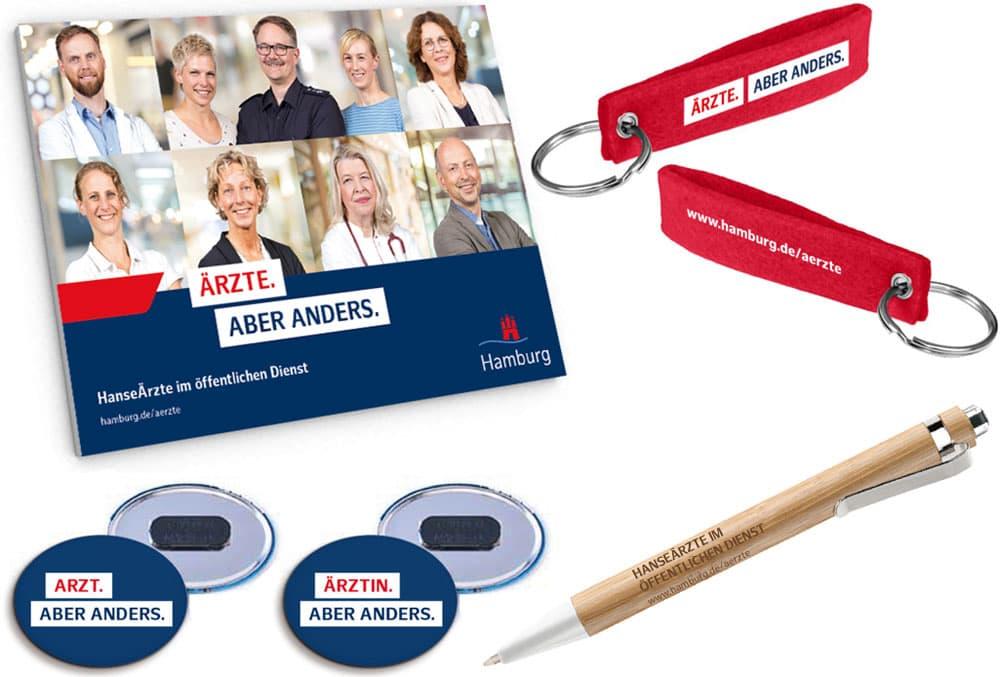 Noch mehr Give Aways für die Employer Branding Kampagne des Personalamt Hamburg Rückemänner Werbeagentur