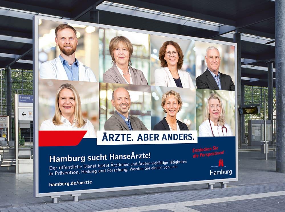 Großflächenplakat aus der Employer Branding Kampagne des Personalamt Hamburg Rückemänner Werbeagentur