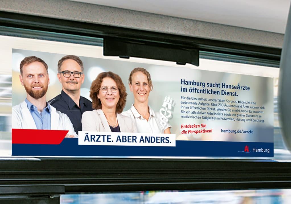 Seitenscheibenkleber ÖPNV Werbung aus der Employer Branding Kampagne des Personalamt Hamburg Rückemänner Werbeagentur
