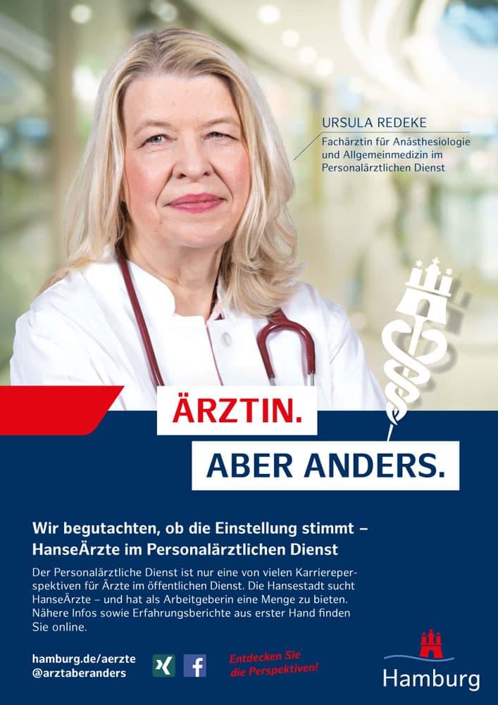 Plakatmotiv Redeke aus der Employer Branding Kampagne des Personalamt Hamburg Rückemänner Werbeagentur