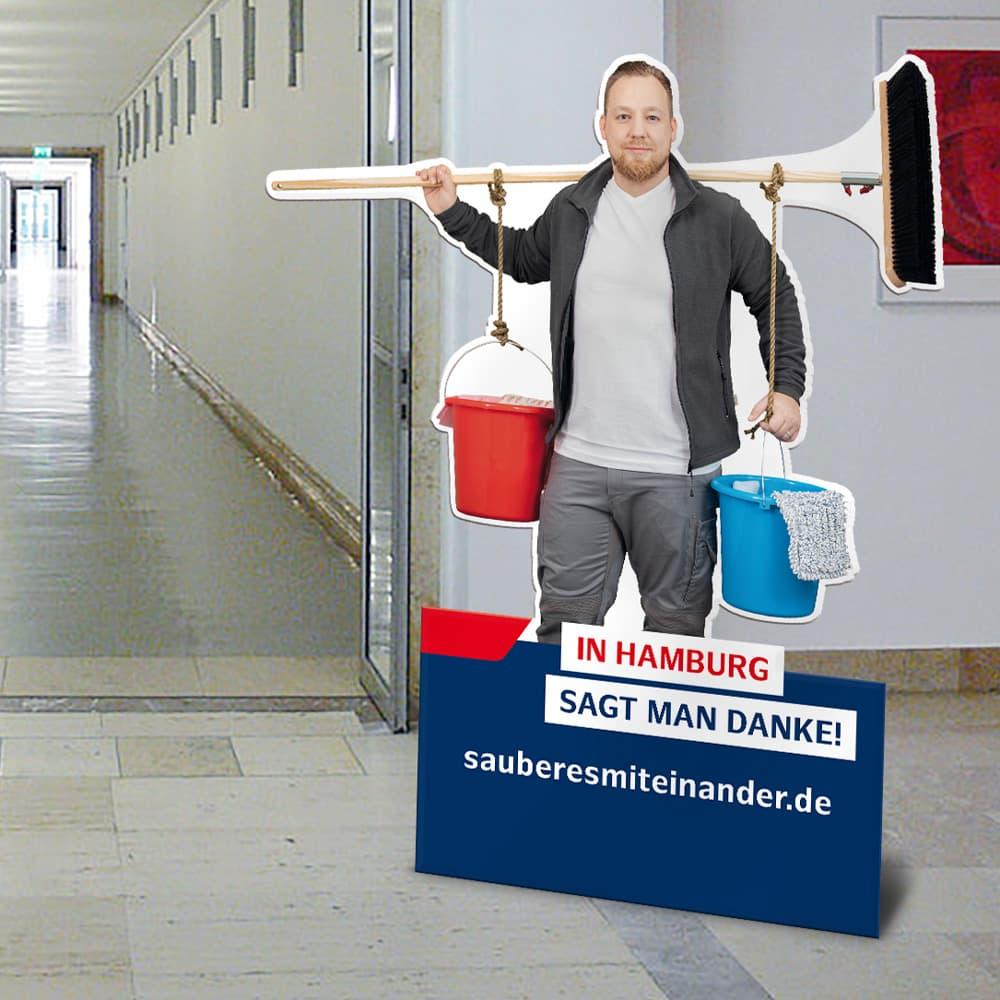 Rückemänner Werbeagentur Hamburg Imagekampagne Gebäudereinigung Figurenaufsteller