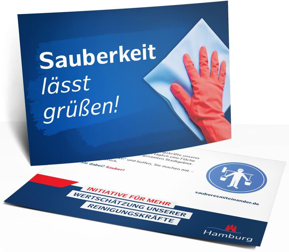 Rückemänner Werbeagentur Hamburg Imagekampagne Gebäudereinigung Postkarte Hummel Sauberkeit lässt grüßen