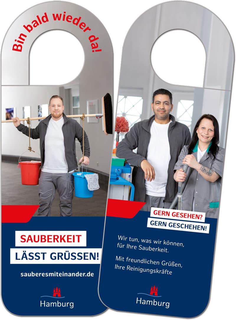 Rückemänner Werbeagentur Hamburg Imagekampagne Gebäudereinigung Türhänger Vorder- und Rückseite