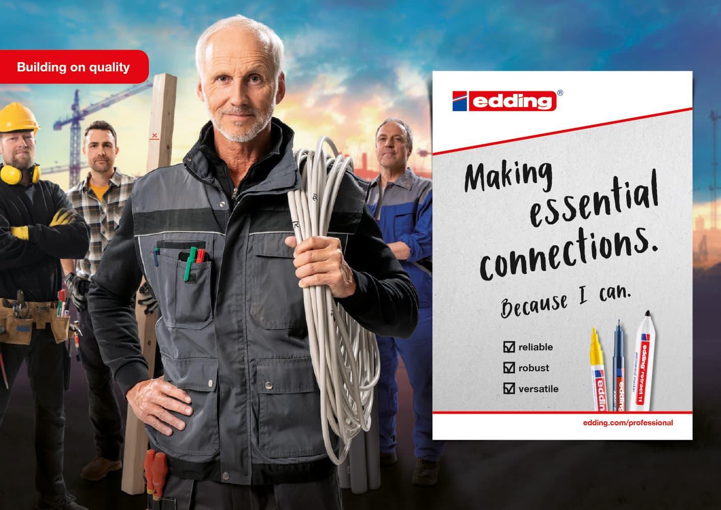edding Craftsmen Kampagne Motiv Elektriker Querformat Rückemänner Werbeagentur Hamburg