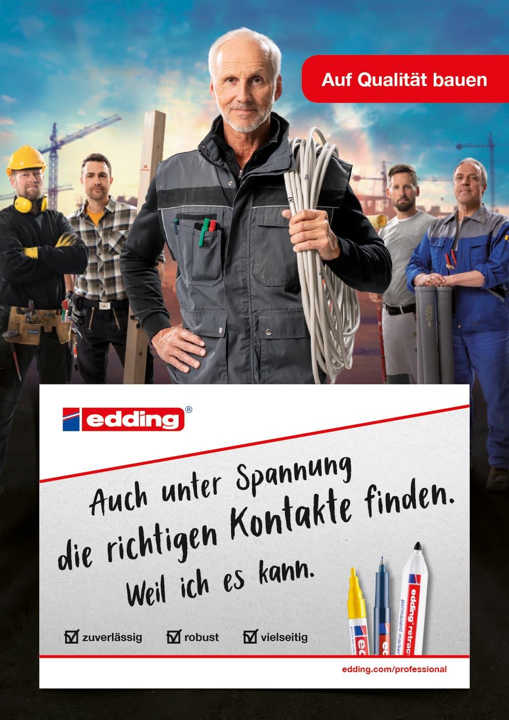 edding Craftsmen Kampagne Motiv Elektriker Hochformat Rückemänner Werbeagentur Hamburg