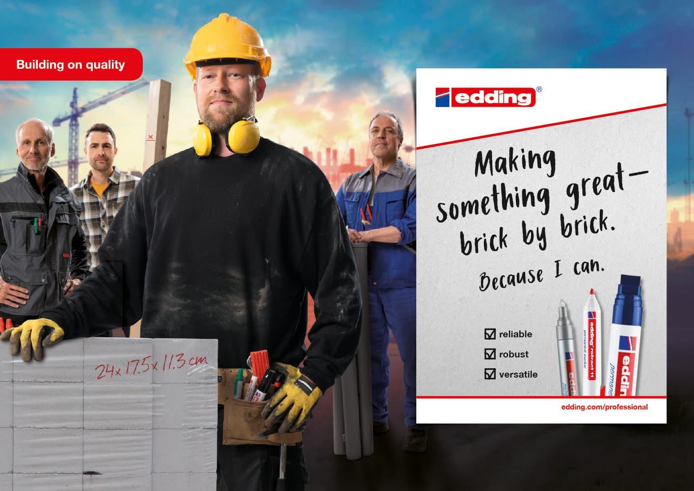 edding Craftsmen Kampagne Motiv Bauarbeiter Querformat Rückemänner Werbeagentur Hamburg
