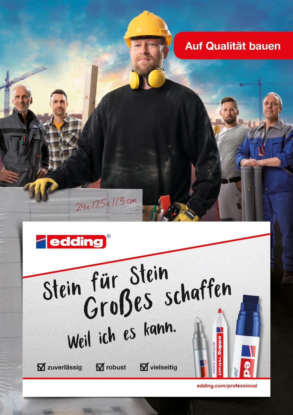 edding Craftsmen Kampagne Motiv Bauarbeiter Hochformat Rückemänner Werbeagentur Hamburg
