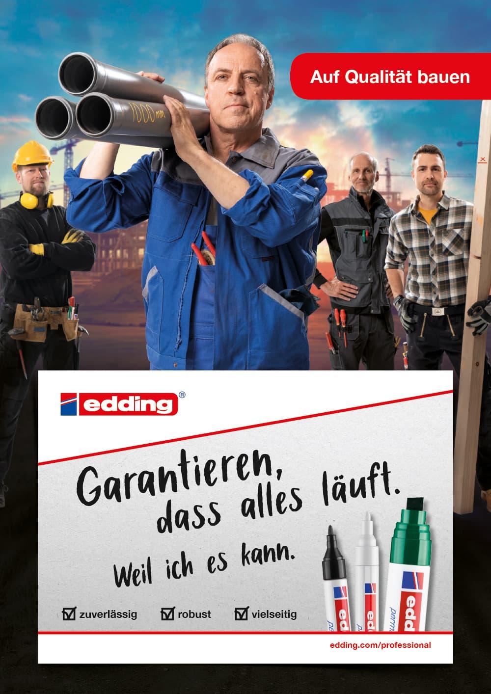 edding Craftsmen Kampagne Motiv Klempner Hochformat Rückemänner Werbeagentur Hamburg