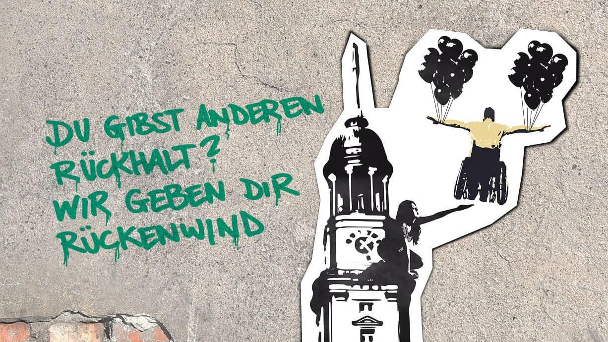 """Employer Branding Motiv """"Rückenwind"""" für Leben mit Behinderung Hamburg"""