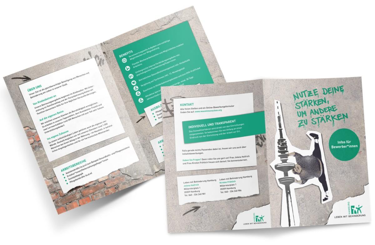 Leben mit Behinderung Bewerber-Flyer Employer Branding Rückemänner Werbeagentur Hamburg